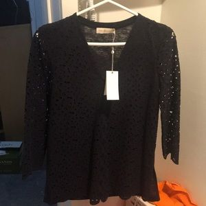 Tory Burch embroidered V neck shirt blouse